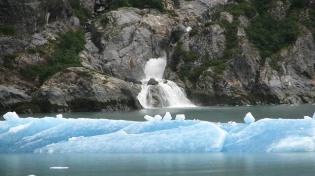 Iceberg and waterfall, Tracy Arm Fjord